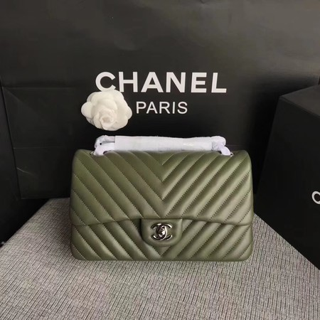 Chanel Flap Shoulder Bag Green Original Sheepskin Leather CF1112V Silver