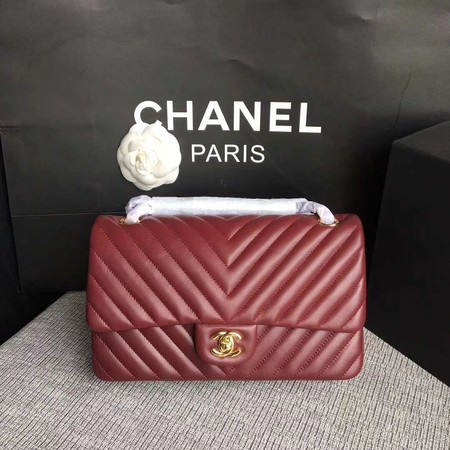 Chanel Flap Shoulder Bag Wine Original Sheepskin Leather CF1112V Gold
