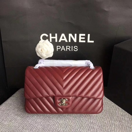 Chanel Flap Shoulder Bag Wine Original Sheepskin Leather CF1112V Silver