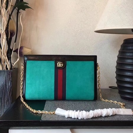 Gucci Suede Leather Shoulder Bag 503876 Green