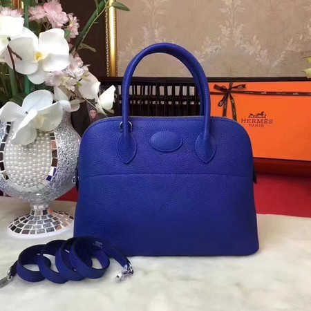 Hermes Bolide Original Leather Tote Bag B1007 Blue