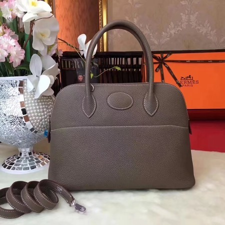 Hermes Bolide Original Leather Tote Bag B1007 Grey