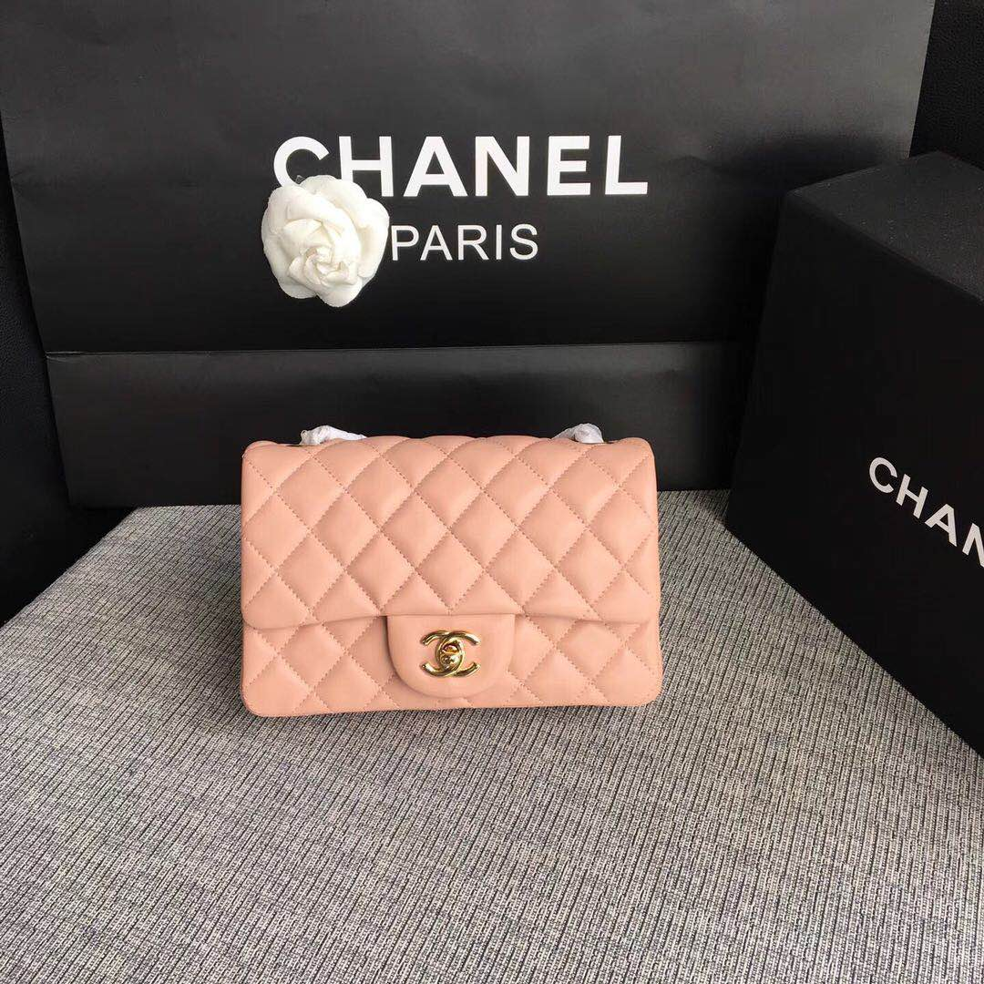 Chanel Classic Flap Bags Red Original Sheepskin Leather 1116 pink