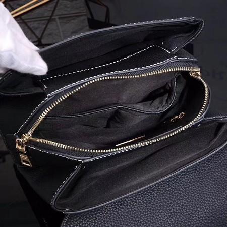Prada Shoulder Bag Calfskin Leather P7397 Black