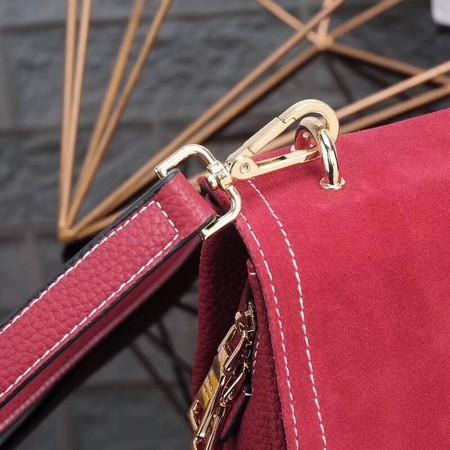 Prada Shoulder Bag Calfskin Leather P7397 Red