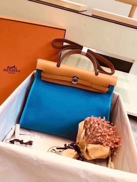 Hermes Herbag 31CM Original Canvas Leather & Calfskin 45987 Blue&Apricot