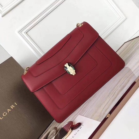 BVLGARI Serpenti Forever Original Calfskin Leather Shoulder Bag 3780 Maroon