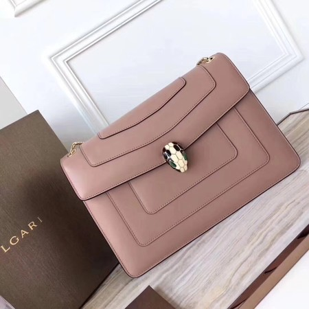 BVLGARI Serpenti Forever Original Calfskin Leather Shoulder Bag 3780 Pink