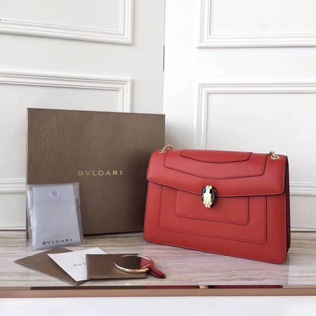 BVLGARI Serpenti Forever Original Calfskin Leather Shoulder Bag 3780 Red