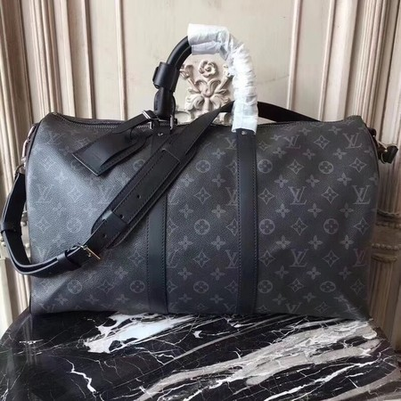 Louis Vuitton Monogram Eclipse Canvas KEEPALL 41418 LF Black