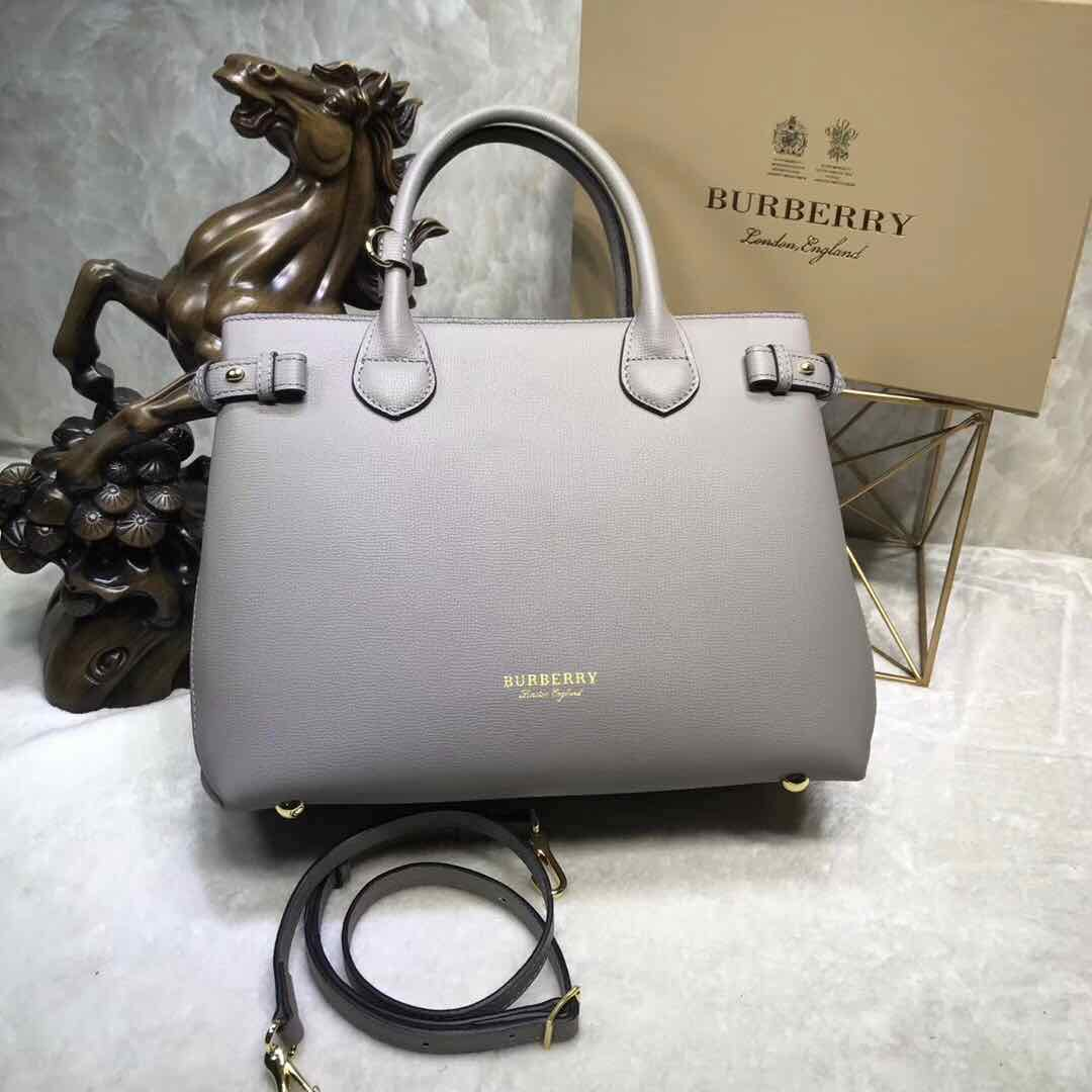 BurBerry Leather Tote Bag 5559 grey