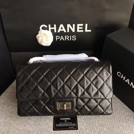 Chanel Flap Shoulder Bag Black Original Calfskin Leather 277 Silver