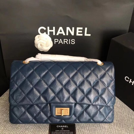 Chanel Flap Shoulder Bag Blue Original Calfskin Leather 277 Gold
