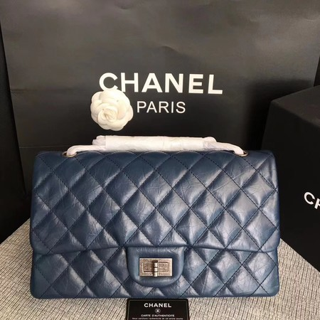 Chanel Flap Shoulder Bag Blue Original Calfskin Leather 277 Silver