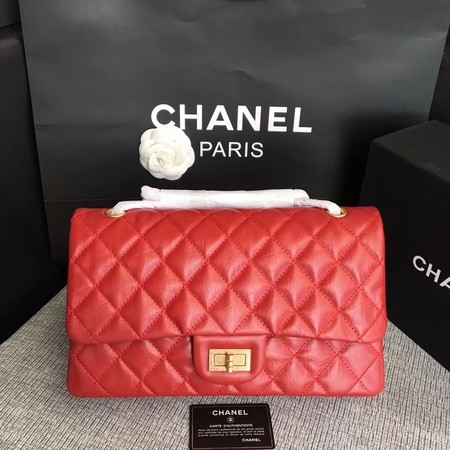 Chanel Flap Shoulder Bag Red Original Calfskin Leather 277 Gold