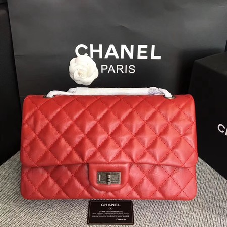 Chanel Flap Shoulder Bag Red Original Calfskin Leather 277 Silver