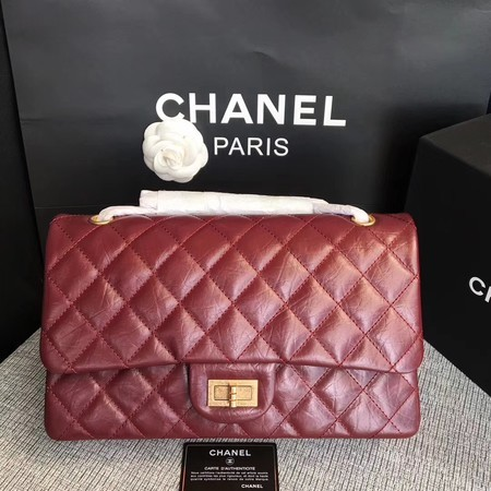Chanel Flap Shoulder Bag Wine Original Calfskin Leather 277 Gold