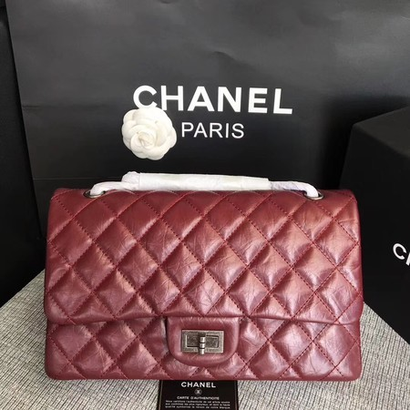 Chanel Flap Shoulder Bag Wine Original Calfskin Leather 277 Silver