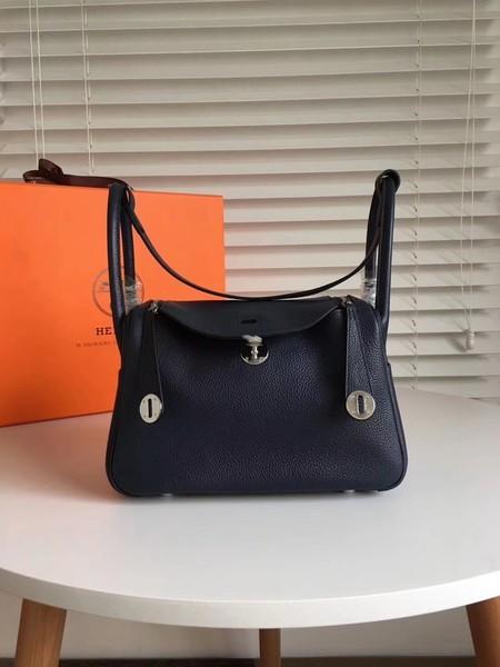 Hermes Lindy Original Togo Leather Bag 5086 Black