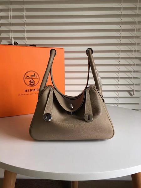 Hermes Lindy Original Togo Leather Bag 5086 Grey