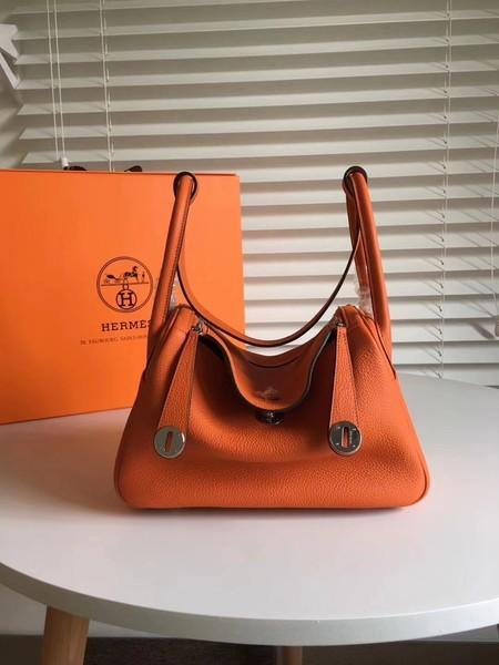 Hermes Lindy Original Togo Leather Bag 5086 Orange