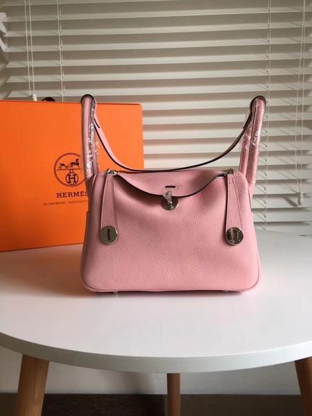 Hermes Lindy Original Togo Leather Bag 5086 Pink