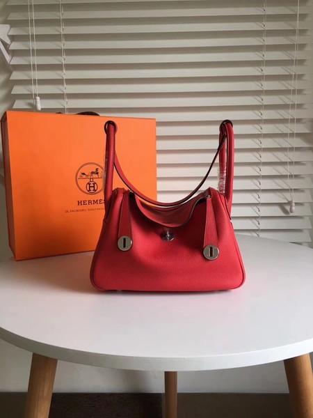 Hermes Lindy Original Togo Leather Bag 5086 Red