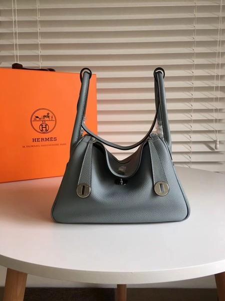 Hermes Lindy Original Togo Leather Bag 5086 Skyblue