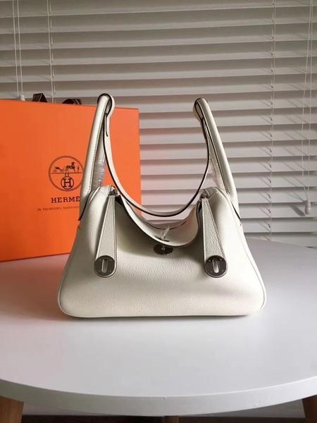 Hermes Lindy Original Togo Leather Bag 5086 White