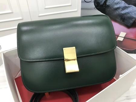 Celine Classic Box Flap Bag Original Calfskin Leather 3378 Atrovirens