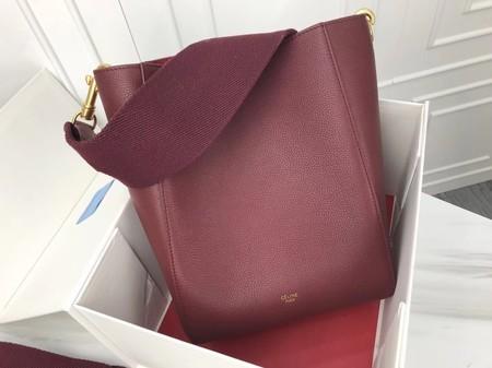 Celine Cabas Phantom Bags Original Calfskin Leather 3370 Wine