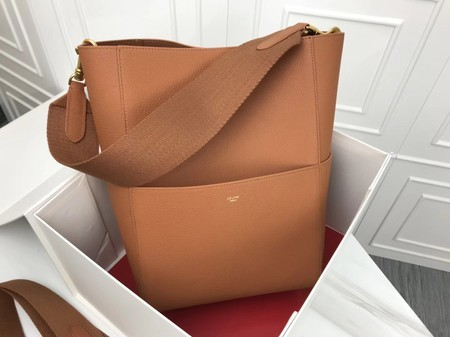 Celine SEAU SANGLE Cabas Bags Original Calfskin Leather 3369 Brown