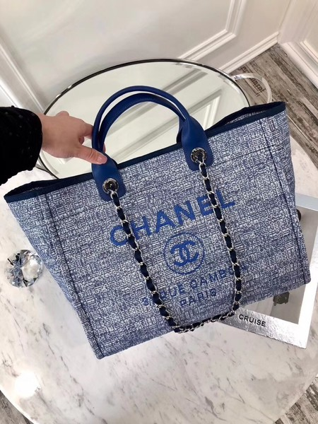 Chanel Original Canvas Leather Tote Shopping Bag 92298 Blue