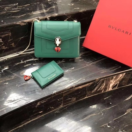 BVLGARI Forever Serpenti In Love Shoulder Bag Calfskin Leather BG90031 Green