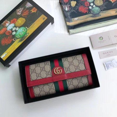 Gucci Calfskin Leather Wallet 523153 red