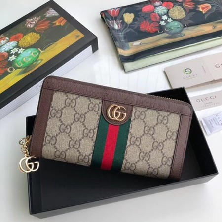 Gucci Calfskin Leather Wallet 523154 brown