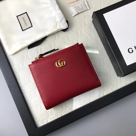 Gucci Calfskin Leather Wallet 474747 red