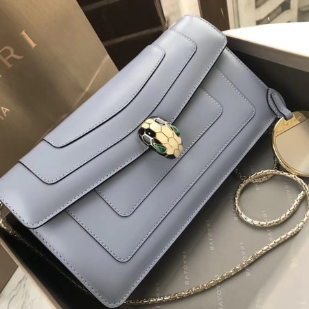Bvlgari Original Calfskin Leather serpenti forever Shoulder Bag 97521 Light blue