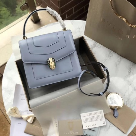 BVLGARI Original Calfskin Leather Tote Bag 97523  Light blue
