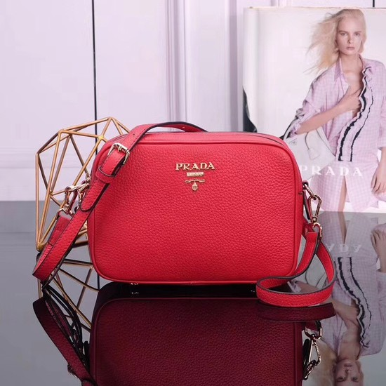 Prada Calfskin Leather Shoulder Bag 1BH082 red