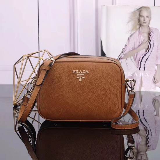 Prada Calfskin Leather Shoulder Bag 1BH082 Camel