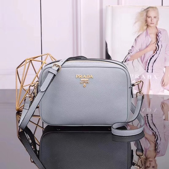 Prada Calfskin Leather Shoulder Bag 1BH082 Light blue