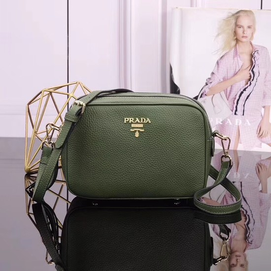 Prada Calfskin Leather Shoulder Bag 1BH082 green