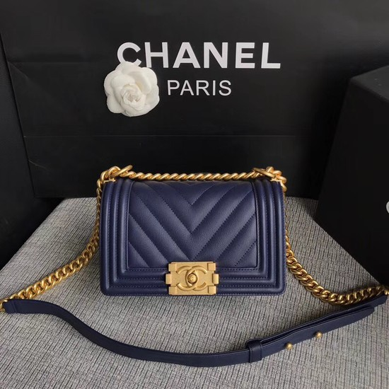 Chanel Le Boy Flap Shoulder Bag Original Calf leather A67085 dark blue Gold Buckle
