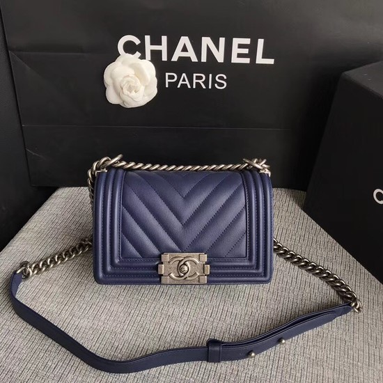 Chanel Le Boy Flap Shoulder Bag Original Calf leather A67085 dark blue silver Buckle