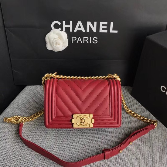 Chanel Le Boy Flap Shoulder Bag Original Calf leather A67085 deep red Gold Buckle