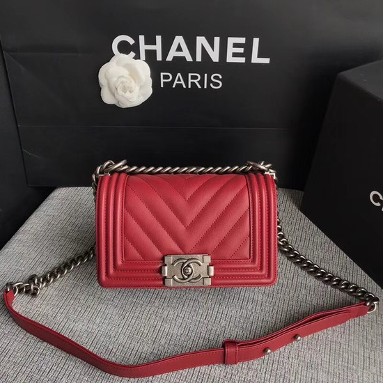 Chanel Le Boy Flap Shoulder Bag Original Calf leather A67085 deep red silver Buckle