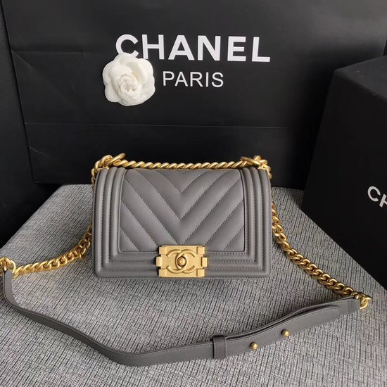 Chanel Le Boy Flap Shoulder Bag Original Calf leather A67085 grey Gold Buckle