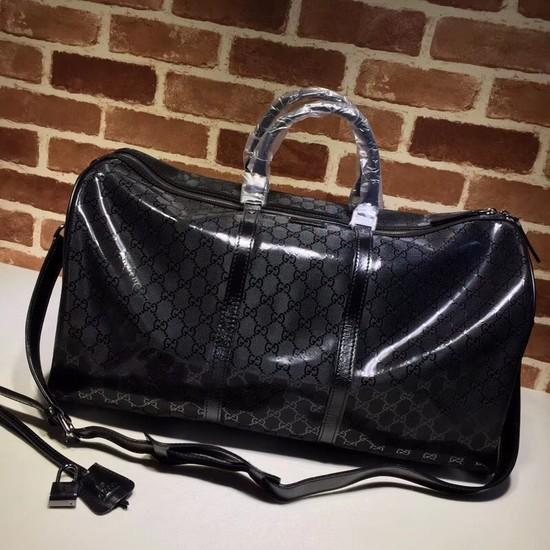 Gucci PVC Keepall Strap Travel Bag 206500 black
