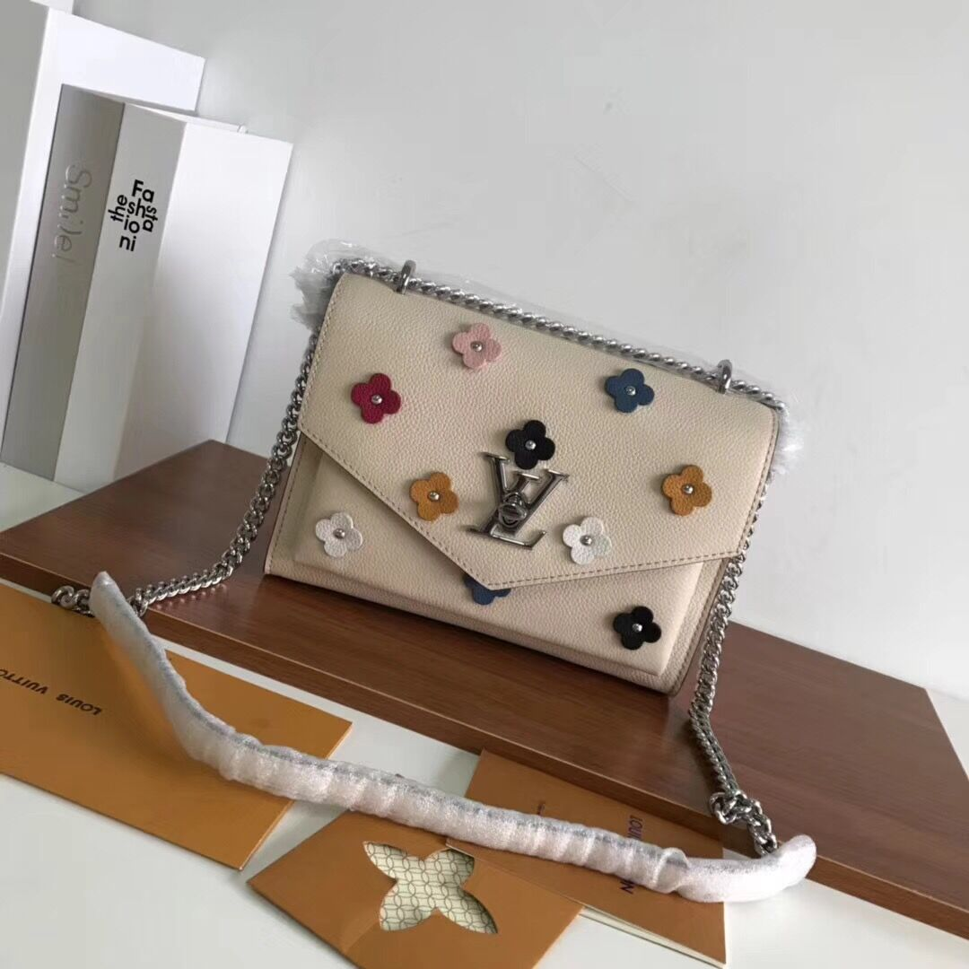 Louis vuitton Original Leather Evening Bag Clutch Love Note MYLOCKME BB 53080 cream
